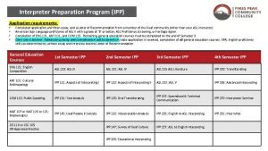 Interpreter Preparation Program IPP Application requirements Completed application