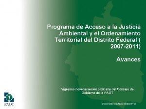 Programa de Acceso a la Justicia Ambiental y