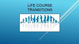 LIFE COURSE TRANSITIONS CHAPTER OUTLINE The Life Course