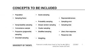CONCEPTS TO BE INCLUDED Population Quota sampling Sampling