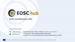 EOSC Architecture WG eoschub eu EOSCeu Dissemination level