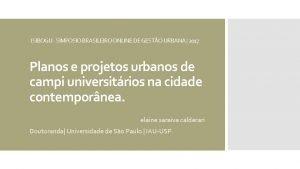 I SIBOGU SIMPSIO BRASILEIRO ONLINE DE GESTO URBANA
