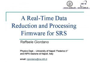 A RealTime Data Reduction and Processing Firmware for