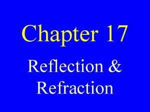 Chapter 17 Reflection Refraction Reflection When light rays