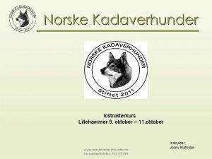 instruktrkurs Lillehammer 9 oktober 11 oktober www norskekadaverhunder