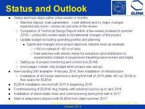 Status and Outlook n n n Status and
