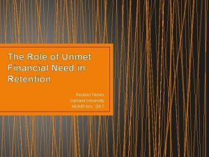 The Role of Unmet Financial Need in Retention