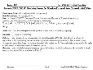 January 2019 doc IEEE 802 15 19 0057