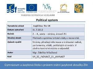 Political system Tematick oblast Anglitina The UK Datum