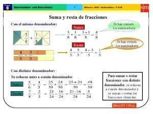 Tema 6 Operaciones con fracciones 1 Nmeros 2001