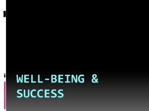 WELLBEING SUCCESS Wellbeing or Wellness Feeling healthy happy