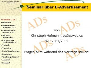 2001 Christoph Hofmann ccccweb cc Seminar ber EAdvertisement