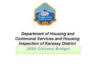 Department of Housing and Communal Services and Housing