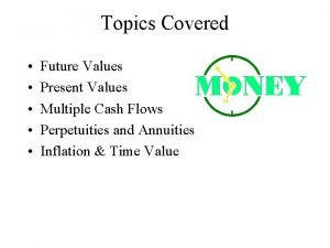 Topics Covered Future Values Present Values Multiple Cash