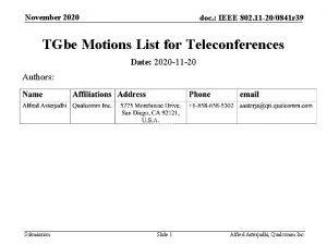 November 2020 doc IEEE 802 11 200841 r