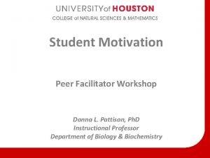 Student Motivation Peer Facilitator Workshop Donna L Pattison