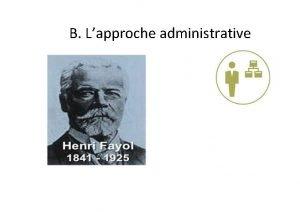B Lapproche administrative B Lapproche administrative Henri Fayol