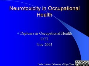 Neurotoxicity in Occupational Health l Diploma in Occupational