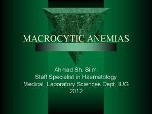 MACROCYTIC ANEMIAS Ahmad Sh Silmi Staff Specialist in