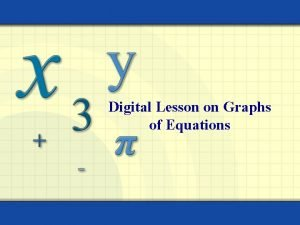 Digital Lesson on Graphs of Equations The graph