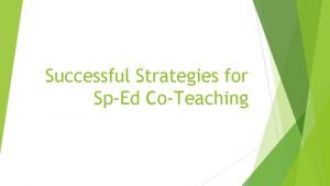 Successful Strategies for SpEd CoTeaching Objectives 1 2