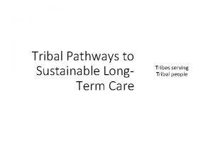 Tribal Pathways to Sustainable Long Term Care Tribes
