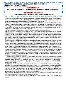 CAMPO FORMATIVO LENGUAJE Y COMUNICACIN ASPECTO LENGUAJE ORAL