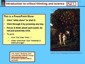 Foundations of Research Introduction to critical thinking and
