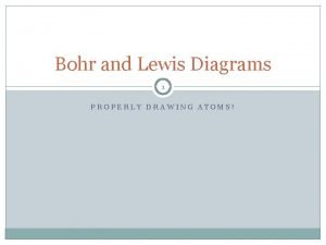Bohr and Lewis Diagrams 1 PROPERLY DRAWING ATOMS
