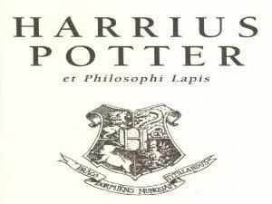 J K Rowling Harrius Potter et Philosophi Lapis