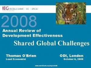 Annual Review of Development Effectiveness 2008 Annual Review