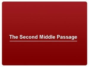 The Second Middle Passage Ban on Import of