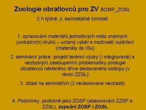 Zoologie obratlovc pro ZV Bi 2 MPZOSL 2