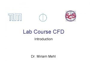 Lab Course CFD Introduction Dr Miriam Mehl CFD