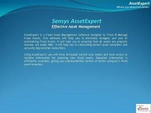 Asset Expert Effective Asset Management Software Sensys Asset