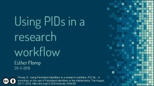 Using PIDs in a research workflow Esther Plomp