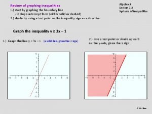 Review of graphing inequalities 1 start by graphing