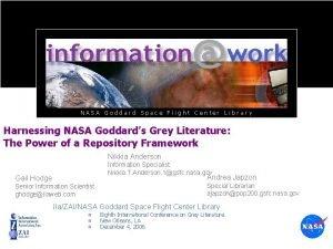 NASA Goddard Space Flight Center Library Harnessing NASA