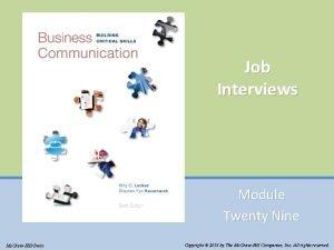 Job Interviews Module Twenty Nine Mc GrawHillIrwin Copyright