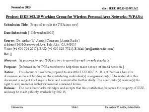 November 2005 doc IEEE 802 15 050715 r