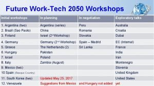 Future WorkTech 2050 Workshops Initial workshops In planning