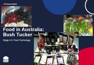 NSW Department of Education Food in Australia Bush