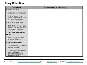 Story Selection Questions Answers for YOUR story A