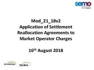 Mod2118 v 2 Application of Settlement Reallocation Agreements