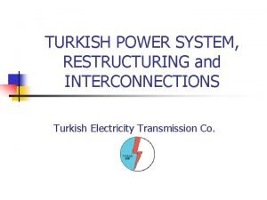 TURKISH POWER SYSTEM RESTRUCTURING and INTERCONNECTIONS Turkish Electricity