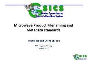 Microwave Product Filenaming and Metadata standards Manik Bali