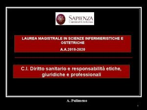 LAUREA MAGISTRALE IN SCIENZE INFERMIERISTICHE E OSTETRICHE A