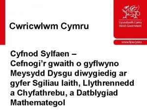 Cwricwlwm Cymru Cyfnod Sylfaen Cefnogir gwaith o gyflwyno