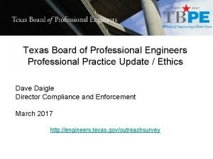 Texas Board of Professional Engineers Professional Practice Update