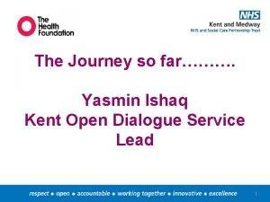 The Journey so far Yasmin Ishaq Kent Open